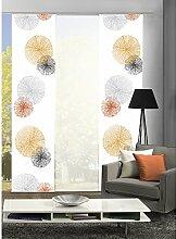 HOME Wohnideen Komplett-Fenster-Schiebevorhang Scoppio, 3-er Set, 245x60 cm orange