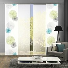 HOME WOHNIDEEN Komplett-Fenster-Schiebevorhang Scoppio, 4-er Set, 245x60 cm grün