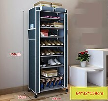 Home zu stärken, die mobile staubdichte einfache Schuh-Rack Edelstahl Multi-Layer-Sonnenschutz-Balkon Oxford Tuch Schuhschrank Disassembly Kombination ( Farbe : Blue gray )