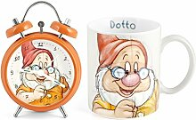 Home Zwerge Set Wecker Mug, Porzellan, Orange, 2Einheiten