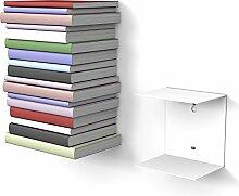 home3000 1 weißes unsichtbares Bücherregal mit 2
