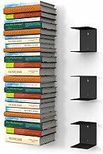 home3000 3 Schwarze unsichtbare Bücherregale mit