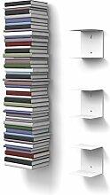 home3000 3 Weisse unsichtbare Bücherregale mit 6