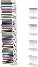 home3000 4 weiße unsichtbare Bücherregale mit 8