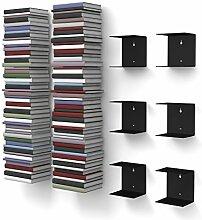 home3000 6 schwarze unsichtbare Bücherregale mit
