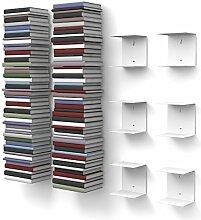 home3000 6 weiße unsichtbare Bücherregale mit 12