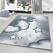 HomebyHome Kurzflor Kinderteppich Bärchen Wolken