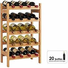 HOMECHO Bambus Weinregal für 20 Flaschen mit