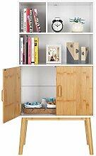 HOMECHO Bücherschrank Bücherregal mit 2 Ablagen