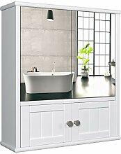 HOMECHO Spiegelschrank Badschrank mit Spiegel Bad
