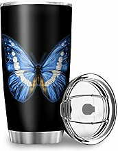Homedb Edelstahl Tassen Blauer Schmetterling