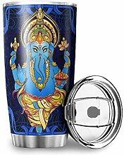 Homedb Edelstahl Tassen Blauer Yoga Elefant Becher