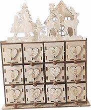 HomeDecTime Holz Adventskalender mit 24 Boxen -