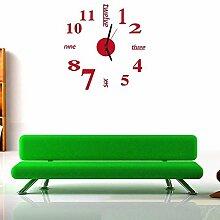 HOMEE 3D Diy Heimtextilien Dekorative Acryl Uhr Dreidimensionale Wandaufkleber, rot,ro