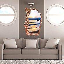 HOMEE 3D Kann Entfernen der Gebrochenen Wandaufkleber Sea Stereo Tür Aufkleber Umwelt Pvc Wasserdichte Selbstklebende Tapete