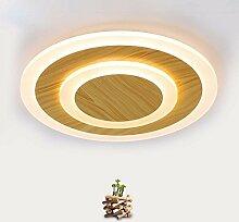 HOMEE Deckenleuchte-moderne einfache LED-Runde dünne Holzkunst Deckenleuchten Schlafzimmer Wohnzimmer Esszimmer Balkon Gang Deckenleuchten (Größe, Helle Farbe optional) --home warme Deckenleuchte,Ver