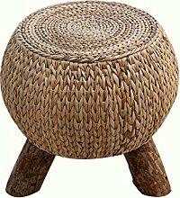 HOMEE Rattan runden kurzen Hocker Wohnzimmer Sitzhocker trinken Tee Hocker Hocker mit Beinen Pastoral für Schuhlöffel