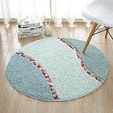 HOMEE Runde Matte Stühle Matte Wohnzimmer Schlafzimmer Satin Anti-Rutsch-Runde Teppich,Grün, 70 Cm Durchmesser