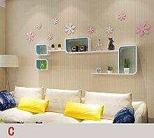 HOMEE Wand Regal Wand hängen Wohnzimmer Schlafzimmer TV Wand dekorative Wandfarbe Schallwand kreative Gitter Wanddekoration (mehrere Stile zur Verfügung),B