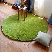 HOMEE Wolldecke runden Tisch Teppich Wohnzimmer Mat Schlafzimmer Nacelle Bett und Matratze,Matcha Grün, Durchmesser 0.8M (3.0Cm