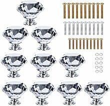 homeideas 10x 30mm Diamant Form Kristall Glas Kabinett Knauf Schrank Schublade Pull Möbelgriff mit Schraube, Silber und Transparent, 40mm-10pcs