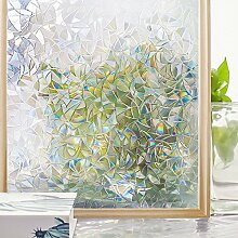 Homein 3D Fensterfolie Folie Sichtschutz für Fenster Sichtschutzfolie Selbstklebend Klebefolie Selbsthaftend Blickdicht Window Film Dekorfolie Lichtspiel Motiv Glanzoptik Bunt Farbig Bruchglas 44.5 x 200 cm