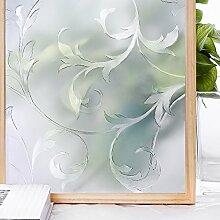 Homein 3D Klebefolie Sichtschutzfolie Selbstklebend Milchglasfolie Sichtschutz Fensterfolie Blickdicht Fenster für Bad Deko Duschkabine Duschwand Folie Dekorfolie Sonnenschutz Blumen Ranke 90 x 200 cm