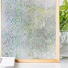 Homein Fenster Folien Klebefolie Fensterfolie Milchglas Selbstklebend Milchglasfolie Für Sichtschutz Tattoo Blickdicht Vintage Haftend ohne Kleber Glas Tür Möbel Bunt 3D Mosaik Muster 44.5 x 200 cm
