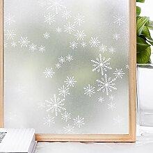 Homein® Fensterfolie Milchglasfolie Sichtschutzfolie Klebefolie Selbstklebend Fenster Sichtschutz Blickdicht für Bad Duschwand Dusche Folie ohne Kleber Anti UV mit Motiv Muster Schneeflocken 44.5 x 200 cm