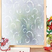 Homein Fensterfolie Milchglasfolie Sichtschutzfolie Klebefolie Selbstklebend Fenster Sichtschutz Blickdicht für Bad Duschwand Dusche Folie ohne Kleber Anti UV mit Motiv Muster Blumenranken 90 x 200 cm