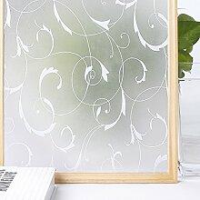 Homein Milchglasfolie Sichtschutzfolie Fensterfolie Klebefolie Selbstklebend Fenster Sichtschutz Blickdicht für Bad Duschwand Dusche Folie ohne Kleber Anti UV mit Motiv Muster Blumen Ranke 90 x 200 cm