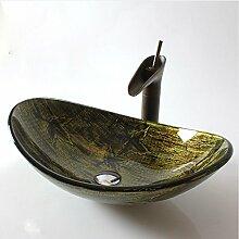 HomeLava Europäisch Stil Glas Waschbecken Oval