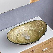 HomeLava Gehärtetes Glas Waschbecken Oval Klein