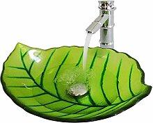 HomeLava Glas Waschbecken Modern Blätter Design