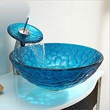 HomeLava Glas Waschbecken Set Mediterran Stil
