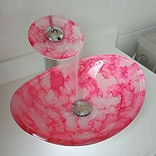 HomeLava Glas Waschbecken Set Rot Oval mit
