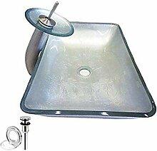 HomeLava Hartglas Waschbecken mit Wasserfall