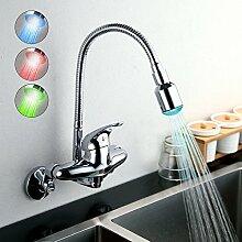 Homelava Küchenarmatur LED Chrom Einhandmischer