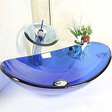 Homelava Modern Blau Oval Glas Waschbecken mit Wasserfall Armatur,Ablaufgarnitur, Montagering