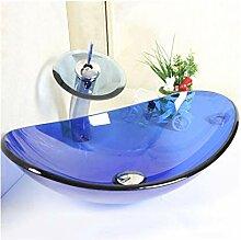 HomeLava Modern Blau Oval Glas Waschbecken mit