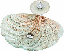 HomeLava Modern Glas Waschbecken Set Muschel