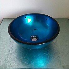 HomeLava Modern Rund Blau Gehärtetes Glas Einzel