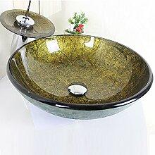 HomeLava Modern Waschbecken Gold Rund Glas Aufsatz