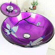 HomeLava Modern Waschbecken Lila Rund Glas Aufsatz