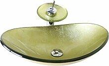 HomeLava Modern Waschbecken Set Glas Oval mit