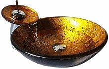 HomeLava Modern Waschbecken Set Rund Gold