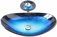Homelava modernes Hartglas-Waschbecken mit