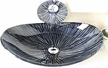 HomeLava Oval Waschbecken Gehärtetes Glas für
