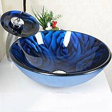 HomeLava Rund Glas Waschbecken+Wasserfall Armatur