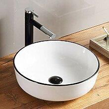 HomeLava Runde Keramik Aufsatzwaschbecken Weiß